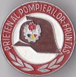 Insigna pionieri aluminiu , Prieten Al Pompierilor - Fruntas mica