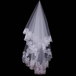 Voal de mireasa superb lungime 1,5 m alb sau ivory nou model deosebit