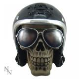 Statueta craniu motociclist Impunatorul 16 cm