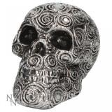 Statueta craniu Spirale argintii 15 cm