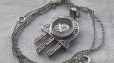 MEDALION argint HAMSA Fatima MANA MAICII DOMNULUI impecabil RAR pe Lant argint
