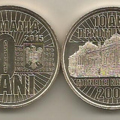 ROMANIA 50 BANI 2015 , 10 Ani Denominare ,  UNC   , din fisic , necirculata, Alama