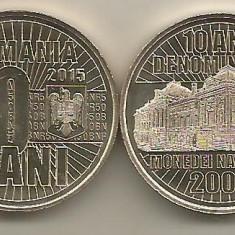 ROMANIA  50  BANI  2015 , 10  ANI  Denominare ,  UNC ,  din fisic , necirculata