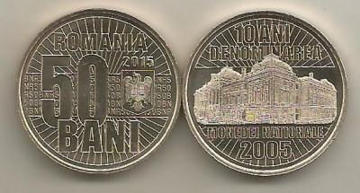 ROMANIA 50 BANI 2015 , 10 ANI Denominare , UNC , din fisic , necirculata foto