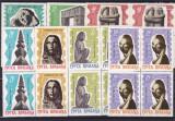ROMANIA 1967 LP 645-10 ANI DE LA  MOARTEA LUI  BRANCUSI  BLOCURI DE 4 TIMBRE MNH