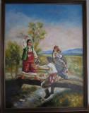 """Pictura """"La Pod"""" semnat Cimpoesu, Portrete, Ulei, Realism"""