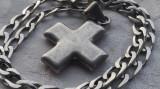MEDALION argint CRUCE crucifix VECHI superb SPLENDID pe Lant argint VECHI masiv