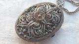 MEDALION argint filigran MASIV opulent VECHI cu loc FOTOGRAFIE pe Lant argint