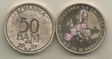 ROMANIA  50 BANI  2017 , 10 Ani  ADERARE la U.E. ,  UNC din fisic ,  in cartonas, Alama