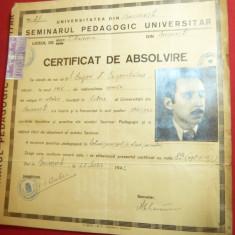 Diploma- Certificat de Absolvire a Seminarului Pedagogic Universitar 1942 Bucure