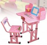Birou cu scaunel pentru copii pe culoarea Roz