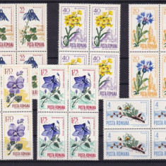 ROMANIA 1967  LP  649  FLORA CARPATINA  BLOCURI DE 4 TIMBRE  MNH