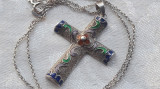 MEDALION argint CRUCE crucifix cu Email VECHI splendid SUPERB rar pe Lant argint