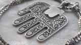 MEDALION argint MANA MAICII DOMNULUI vechi ISRAEL masiv HAMSA Fatima+Lant argint