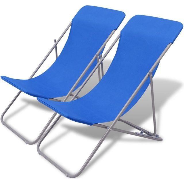 Scaune pentru plaja 2 buc. Albastru foto mare