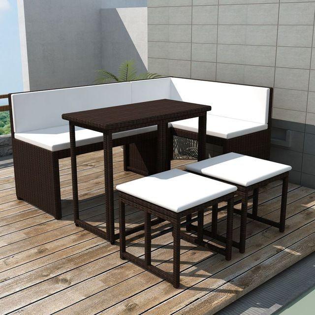 Set mobilier de grădină, 12 piese, poliratan, maro foto mare