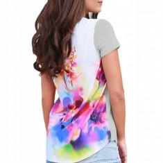 BL948-18 Tricou casual cu imprimeu colorat la spate si buzunar in fata, M, M/L