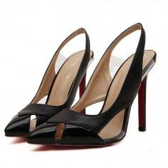 CH2299-1 Sandale elegante, inchise in fata, varf ascutit si decupaje, 36