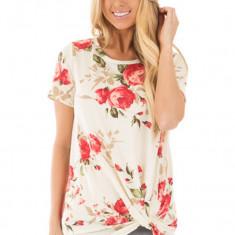 BL916-23 Tricou cu imprimeu floral si aspect innodat in partea de jos, L, M, M/L, S/M, XL