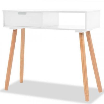 Masa consola, lemn masiv de pin 80x30x72 cm, alb foto