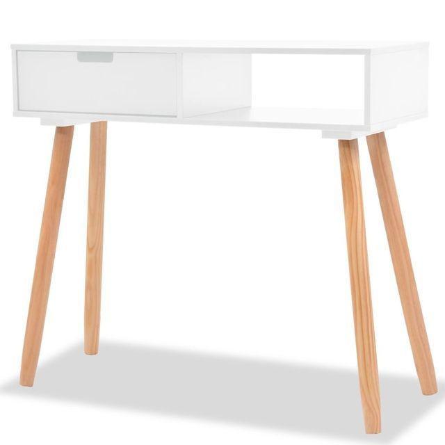 Masa consola, lemn masiv de pin 80x30x72 cm, alb foto mare