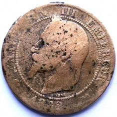 MOKAZIE , FRANTA , NAPOLEON III , 10 CENTIMES 1862 K , BORDEAUX MINT , 30mm.