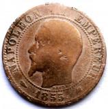 MOKAZIE , FRANTA , NAPOLEON III , 5 CENTIMES 1855 k, Bordeaux MINT , 25mm., Europa, Cupru (arama)
