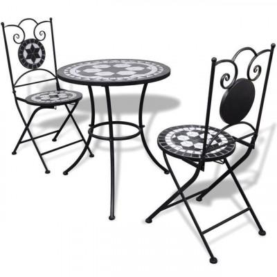 Masă bistro mozaic 60 cm, 2 scaune, negru/alb foto