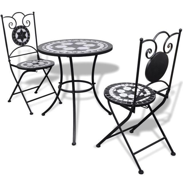 Masă bistro mozaic 60 cm, 2 scaune, negru/alb foto mare