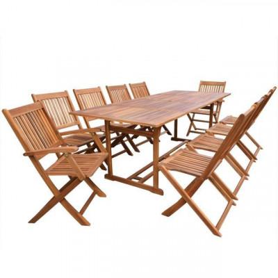 Set mobilier de gradina din lemn de salcam 11 piese 220 cm foto