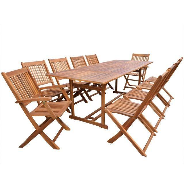 Set mobilier de gradina din lemn de salcam 11 piese 220 cm foto mare