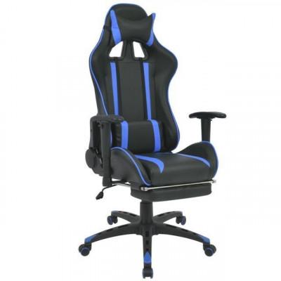 Scaun birou rabatabil, design racing, suport picioare, albastru foto