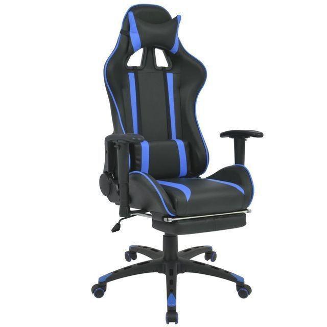 Scaun birou rabatabil, design racing, suport picioare, albastru foto mare