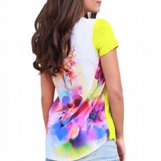 BL948-9 Tricou casual cu imprimeu colorat la spate si buzunar in fata, L, M, M/L, S, S/M