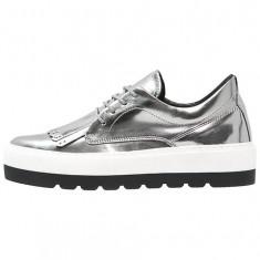 CH2580-6 Pantofi smart din piele, cu aspect metalic, accesorizati cu franjuri