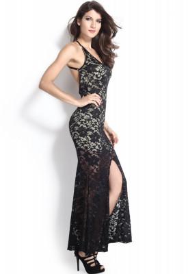 P277 1 Rochie Lunga Eleganta De Seara Cu Dantela Sm Negru Maxi
