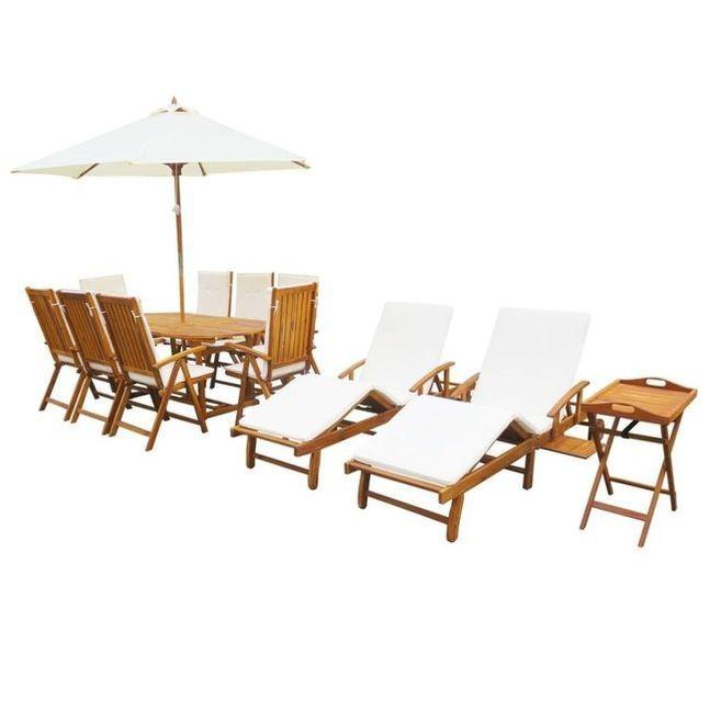 Set mobilier exterior, 23 piese, cu perne, lemn masiv de acacia
