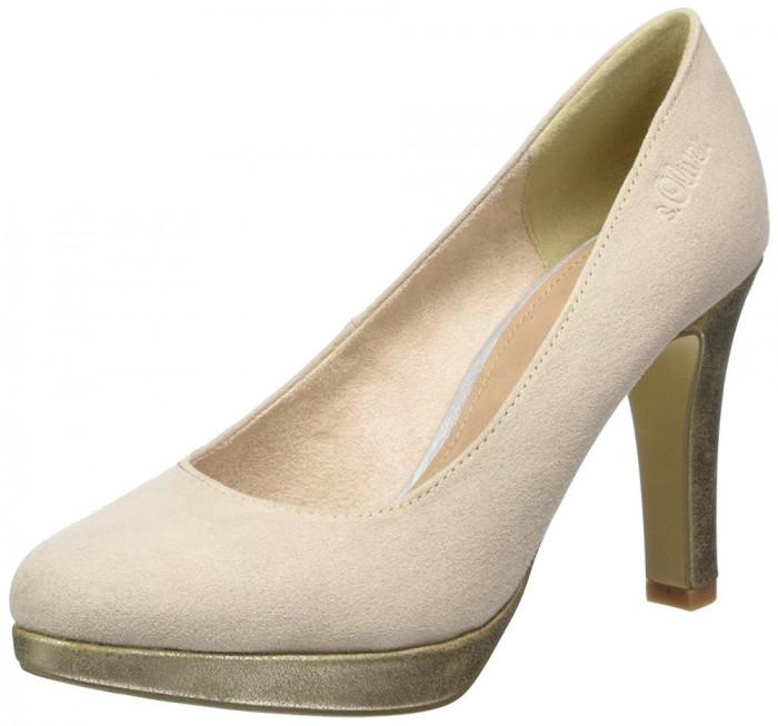 CH2548-155 Pantofi din imitatie piele intoarsa bej si toc conic cu aspect lucios