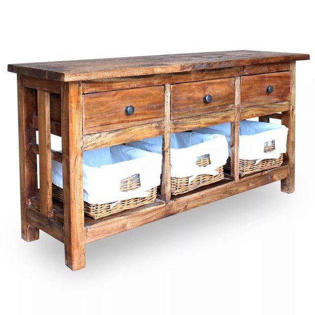 Bufet din lemn masiv reciclat, 100 x 30 x 50 cm
