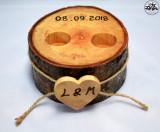 Suport verighete din lemn masiv de frasin lucrat si pirogravat manual
