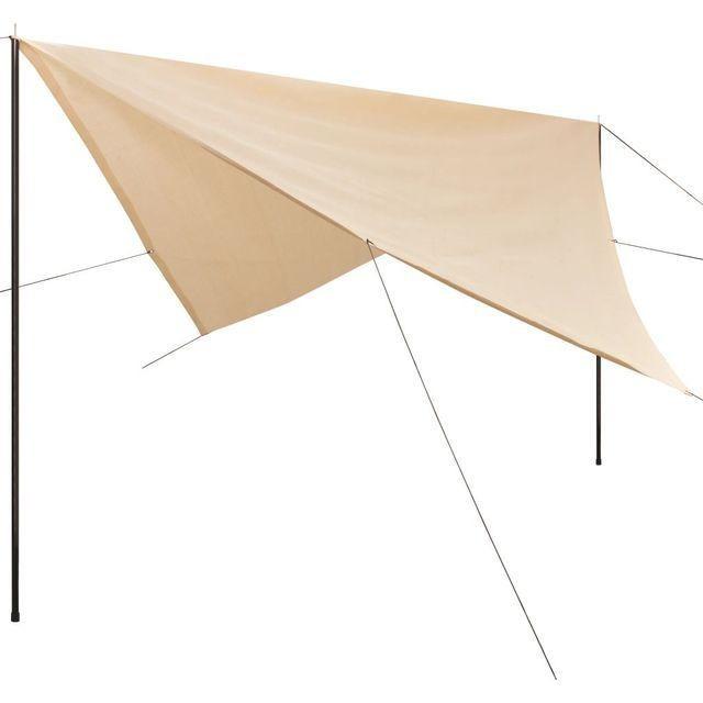 Prelată umbrar cu stâlpi din HDPE, pătrată, 4x4 m, crem foto mare