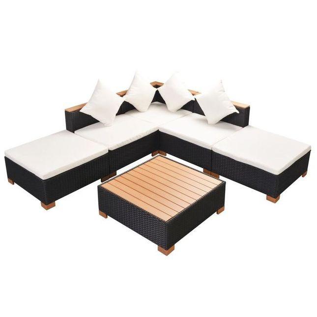 Set mobilier de gradina 15 piese, poliratan, blat WPC, negru foto mare