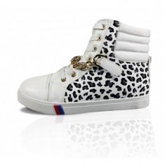 CH2370-211 Sneakers dama cu imprimeu animal si accesoriu auriu in fata