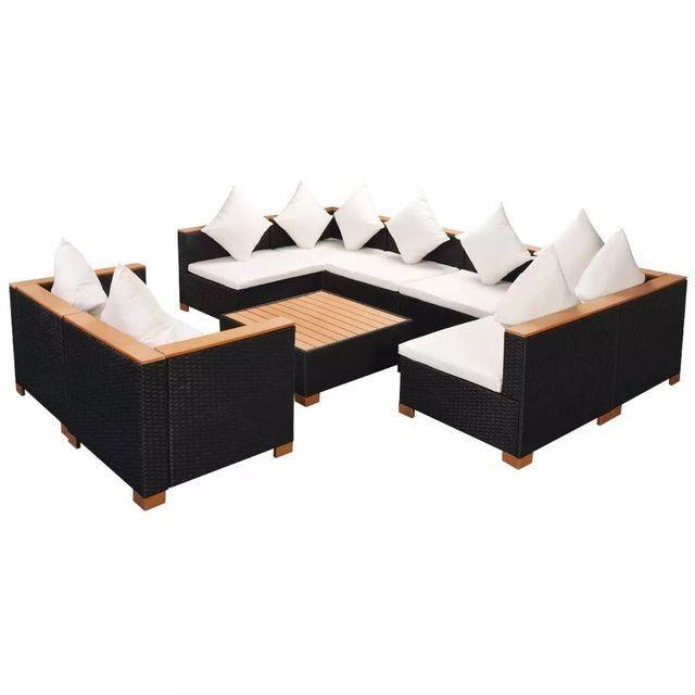Set mobilier de gradina 27 piese, poliratan, blat WPC, negru foto mare