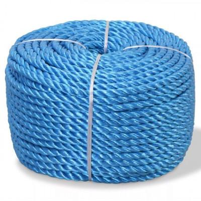 Frânghie împletită polipropilenă 6 mm 200 m, albastru foto