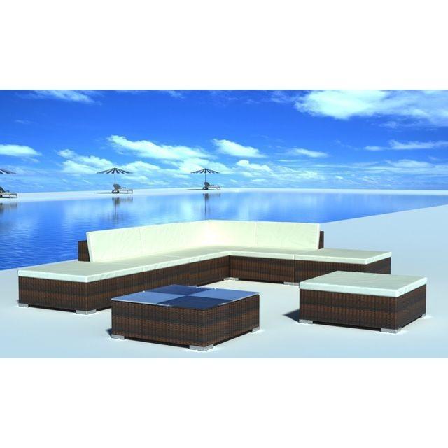 Set mobilier gradina din poliratan 20 buc. Maro foto mare