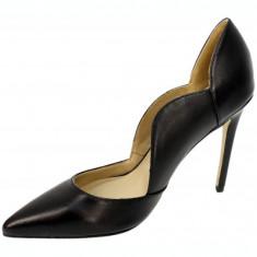 CH2525-1 Pantofi negri din piele, cu varf ascutit si toc cui