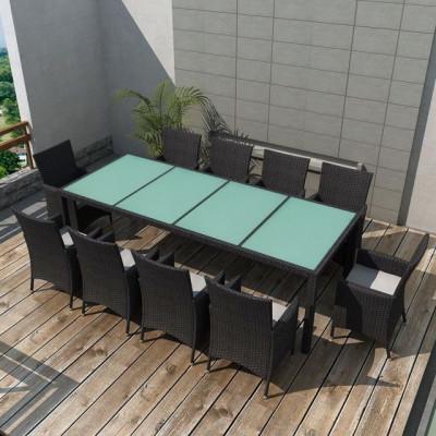 Set mobilier de exterior 21 piese, poliratan, negru foto