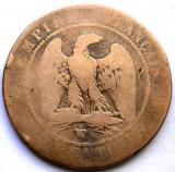 MOKAZIE , FRANTA , NAPOLEON III , 10 CENTIMES 1856 w , LILLE MINT , 30mm., Europa, Cupru (arama)