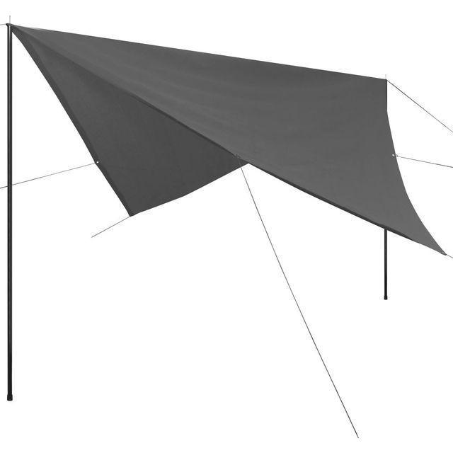 Prelată umbrar cu stâlpi, din HDPE, pătrată, 4x4 m, antracit foto mare